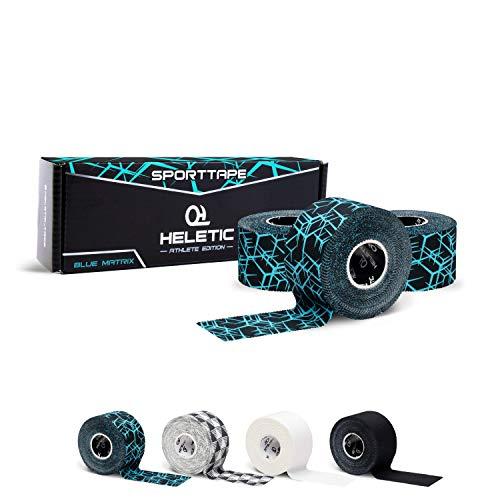 HELETIC Sporttape 3,8cm x 10m Athlete Edition - Tape mit extra starker Klebkraft, leicht abreißbar & wasserabweisend (Blue Matrix (3 Rollen))