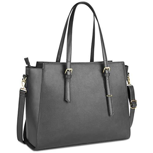 NEWHEY Handtasche Damen Shopper Damen Große Grau Gross Laptop Tasche 15.6 Zoll Elegant Leder Umhängetasche für Büro Arbeit Business Schule