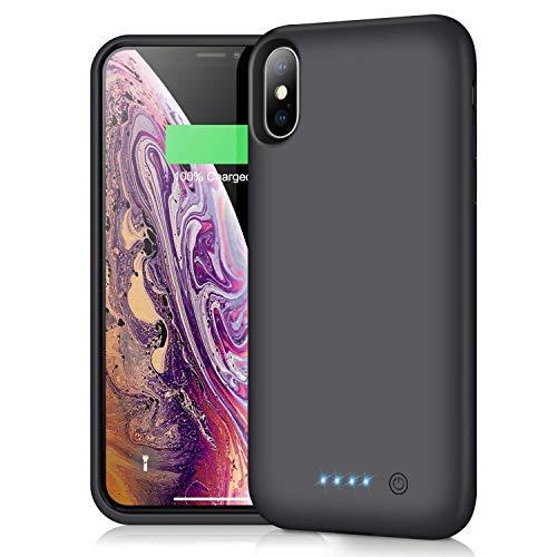 iPosible Funda Batería para iPhone X XS [6500mAh] Upgraded Funda Cargador Portatil Batería Externa Ultra Carcasa Batería Recargable Power Bank para iPhone X XS 10 [5.8 Pulgadas]