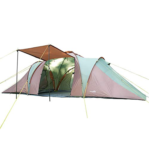 Skandika Daytona XXL 6 Person/Man Dome Family Camping Tent with 3 Sleeping Cabins, 3000 mm Water Column, 195 cm Peak Height & Sun Canopy (Green/Brown)