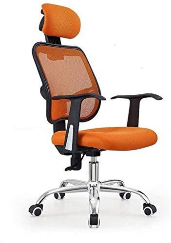 Silla de oficina giratoria de respaldo medio, silla de escritorio con respaldo lumbar, silla de malla ergonómica para ordenador con reposabrazos (color: naranja)