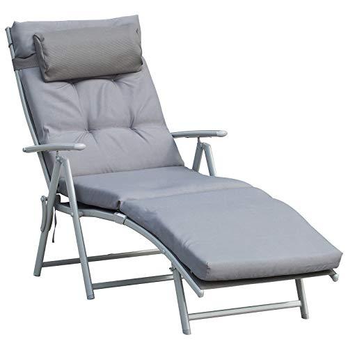 Outsunny Bain de Soleil Pliable transat inclinable 7 Positions Chaise Longue Grand Confort avec Matelas + accoudoirs métal époxy textilène Polyester Gris
