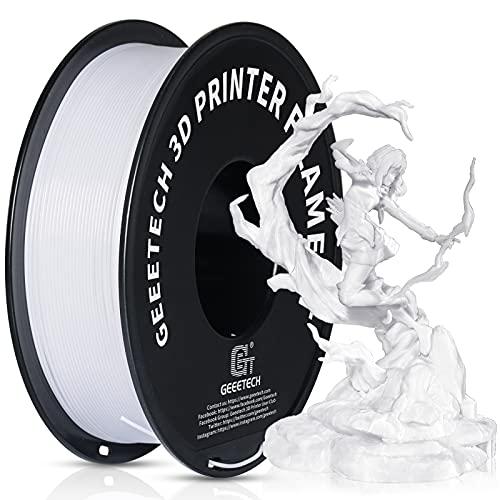 GEEETECH Filamento PETG 1.75 mm Bianco, Filamento Stampante 3D 1kg Spool, 3D Printer Filamento, PETG Bianco