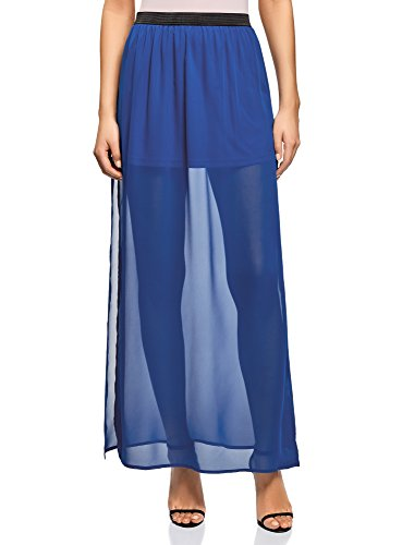 oodji Ultra Mujer Falda Larga de Tejido Fluido, Azul, ES 36 / XS