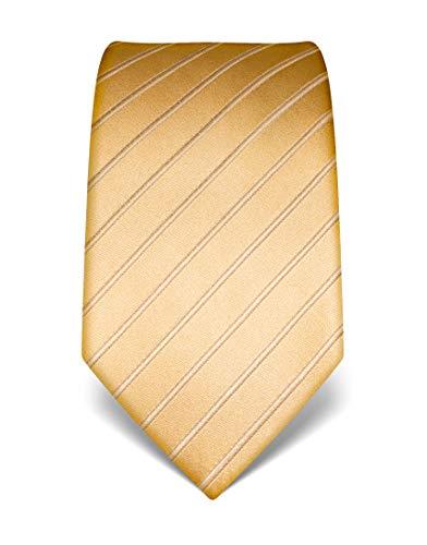 Vincenzo Boretti Herren Krawatte reine Seide Ton in Ton gestreift edel Männer-Design zum Hemd mit Anzug für Business Hochzeit 8 cm schmal/breit gold