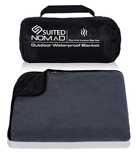 SUITEDNOMAD XL Waterproof Windproof Thick Fleece Outdoor and Stadium Blanket, Compact Warm Double Sided Throw, Great for Cold Weather Camping,Picnic,Sports,Festivals,Dogs, 82x57 in