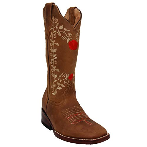 Western Shops Womens Western Cowboy Boots, Square Toe Cowgirl Leather Boots (8.5, Tang)