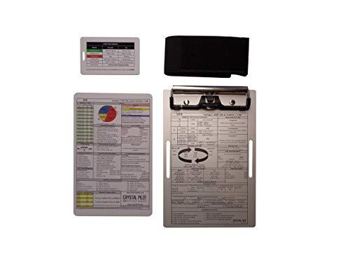 Crystal Pilot Aluminum VFR Kneeboard, Medium VFR-IFR Placard. Bag Tag with Light Gun Signals
