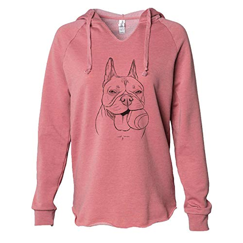 Inkopious Happy Franco The French Bulldog - Women's Cali Wave Hooded Sweatshirt - Dusty Rose Small