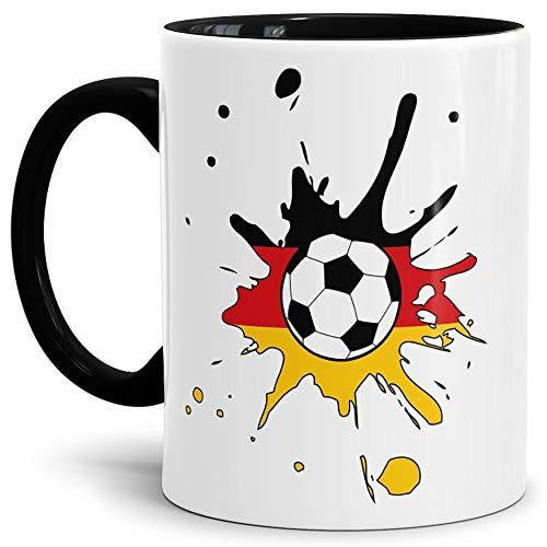 Tassendruck Flaggen-Tasse Zum Fussball Deutschland Innen und Henkel Schwarz - Weltmeisterschaft/WM/Mug/Cup/Tor/Qualität Made in Germany