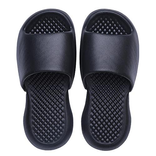 NUGKPRT chanclas,Zapatillas de ducha de baño para mujer, sandalias de suela suave para el hogar de verano para niña, sandalias antideslizantes de Eva para el hogar para hombre, 44-45 negro