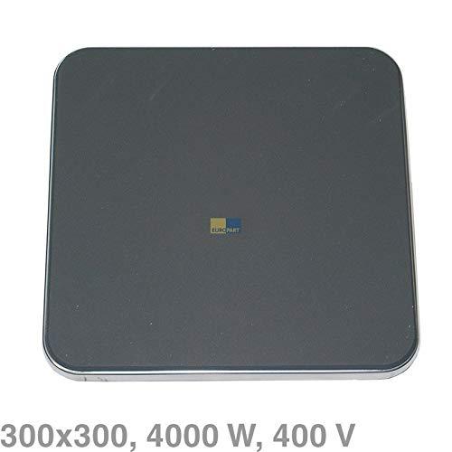 LUTH Premium Profi Parts Universele kookplaat vierkant 300x300mm 4000W 400V met beschermer commercieel