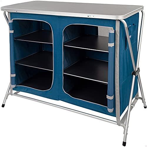 Aktive 52856 52856-Mueble Plegable Cocina, Dos Compartimentos de Almacenamiento, Armario Doble, Mueble portátil Aluminio, 110x53.5x88.5 cm, Color Azul Marino, Unisex-Adult, Multicolor, 110x53x88 cm