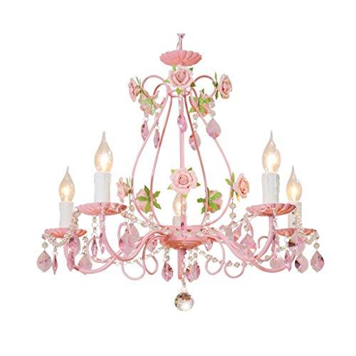 Nostalgie Único Rosada Lámparas de Araña 5 Luz Marco de Las Luces de Color Rosa del Metal con el Flores de Cerámica for la Sala de Estar Dormitorio Cocina Pasillo Lámpara