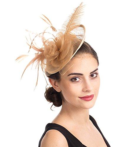 Fascinator Blume Netzmütze Feder Mesh Netz Schleier Tea Party Derby Hut mit Clip und Haarband für Frauen (A3-Khaki Veiling)