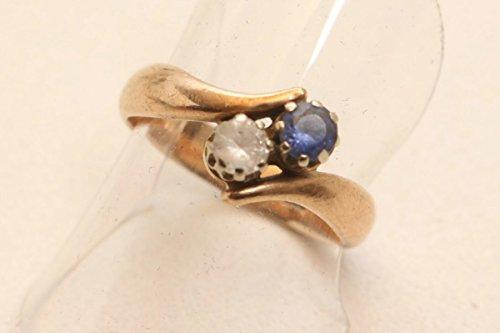 vintage13.de Schöner Ring Damenring Silberring 333 Vergoldet mit 2 Steinen
