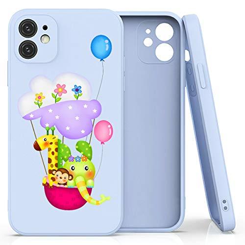 Mixroom - Cover Custodia per iPhone 12 PRO in Silicone TPU Opaco con Bordi Piatti Colore Lilla Fantasia Animali su Mongolfiera 511