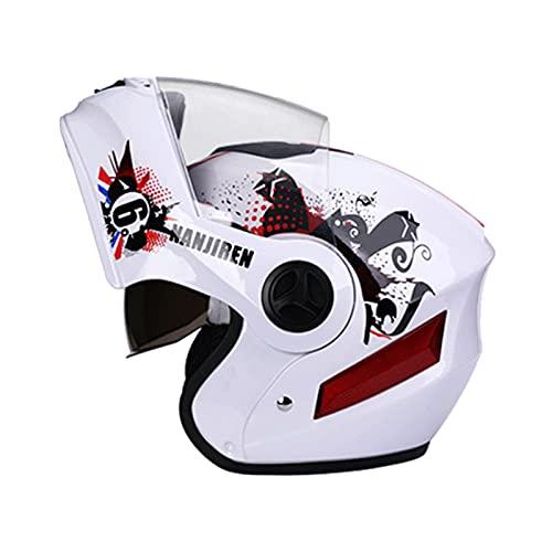 Blesiya Motorradhelme Modular hochklappbar Doppelvisiere Integralhelme Doppelte Belüftungsöffnungen Einheitsgröße - Weiß