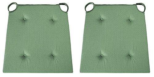 sleepling 2er Set Stuhlkissen/Sitzkissen für Indoor und mit Klettverschluss, Maße: 42 (vorne) / 35 (hinten) x 40 x 5 cm, grün