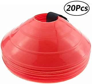 Wankko 2 Red Soccer disc Cones,  Set of 20,  with a Carry Strap