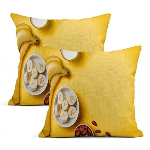 Xincow Set of 2 Throw Pillow Covers Banana Fresh Smoothie Glass Yellow Home Durable Decor Linen Pillowcase Square Cushion Sofa 20x20 Inches