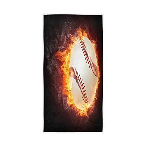 TropicalLife Lihuaval Fire - Toalla de mano deportiva de béisbol de algodón, muy absorbente, toalla de baño suave para el pelo, gimnasio, baño, cocina, 76,2 x 38,1 cm