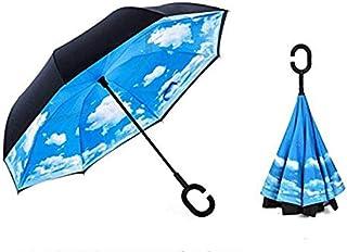 Sumeber 長傘 逆折り式傘 車用傘 外袋付き 閉じると自立可能 耐風 撥水 遮光遮熱 コーティング C型手元 UVカット 8本骨 晴雨兼用 男女兼用 (晴の空)