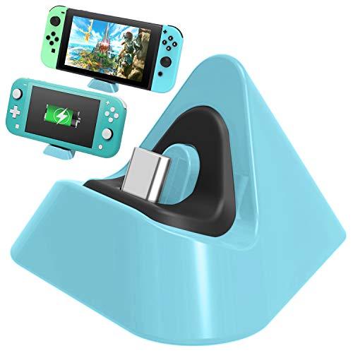 FASTSNAIL Ladegerät Dock für Nintendo Switch/Switch Lite, Tragbare Mini Ladestation Ladestation für Switch/Switch Lite 2019 Dreieckhalter (Hellblau)