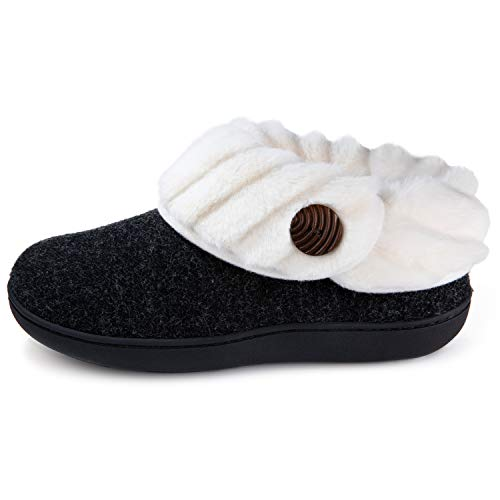 Wishcotton Womens Slippers, Comfy Fuzzy Felt Memory Foam Slippers, Christmas Ladies House Shoes Indoor Outdoor Nonslip Rubber Sole, Black Size 6