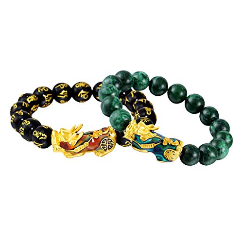 Milageto 2X Feng Shui Prosperity Mantra Obsidian Pixiu Pulsera Ajustable Lucky Jewelry