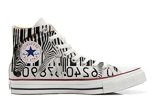 Unbekannt Sneaker & Sportschuhe USA - Base Print Vintage 1200dpi - Italian Style - Hi Customized personalisierte Schuhe (Handwerk Schuhe) Zebra Barcode TG39