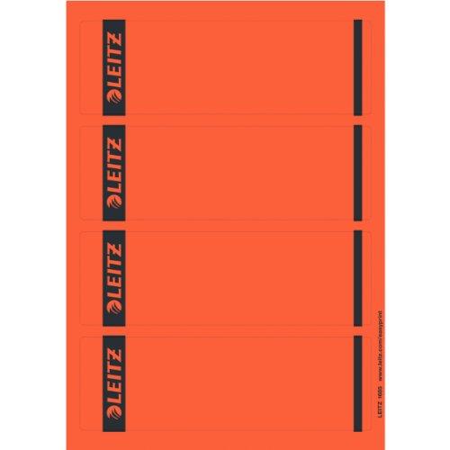 Leitz PC-beschriftbare Rückenschilder selbstklebend für Standard- und Hartpappe-Ordner, 100 Stück, Kurzes und breites Format, 62 x 192 mm, Papier, rot, 16852025
