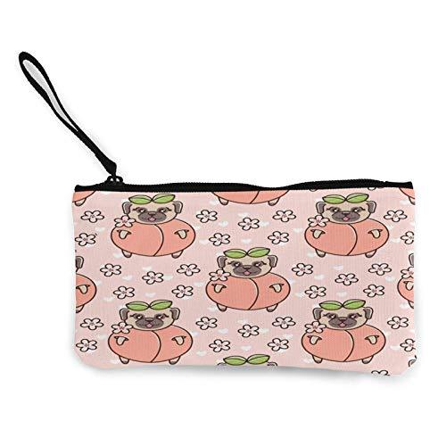 Geldbörse aus Segeltuch mit niedlichem Mops-Hund in Pfirsichfarben, für Reisen, Make-up, Stifteetui mit Griff, Bargeld, Reißverschluss, tragbare Kulturtasche