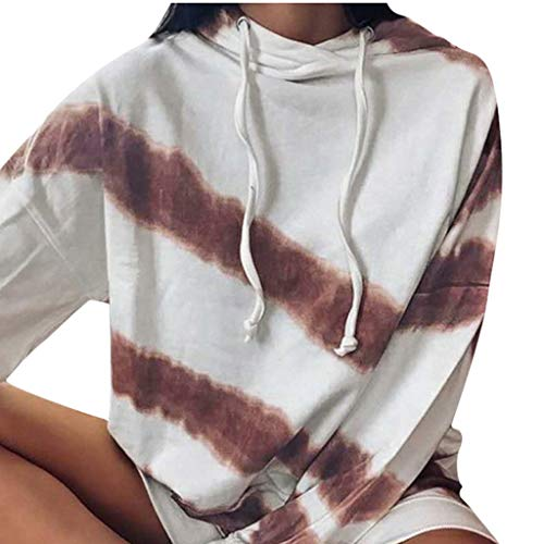 Classics - Sudadera con capucha para mujer, a rayas, cuello alto, manga larga, estilo informal, con capucha, de manga larga marrón L