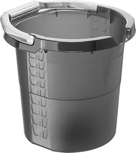 Rotho Daily Eimer 10l mit Softgriff, Ausguss und Skala, Kunststoff (PP) BPA-frei, anthrazit, 10l (32,0 x 29,0 x 27,5 cm)