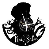 Reloj de pared de vinilo Vintage Handmade Amueblar Hogar Oficina Salón de belleza para uñas