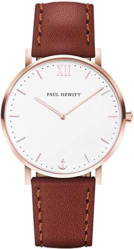 PAUL HEWITT Sailor Line White Sand IP - Pulsera de piel de color oro rosa Niagara, 176 mm