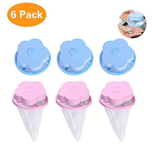 Yizhet 6 Stück Waschmaschine Schwimmende Lint Mesh-Tasche, Wiederverwendbare Blume-Typ Waschmaschine Haarentferner Filter Net Pouch (3 Blue & 3 Pink)
