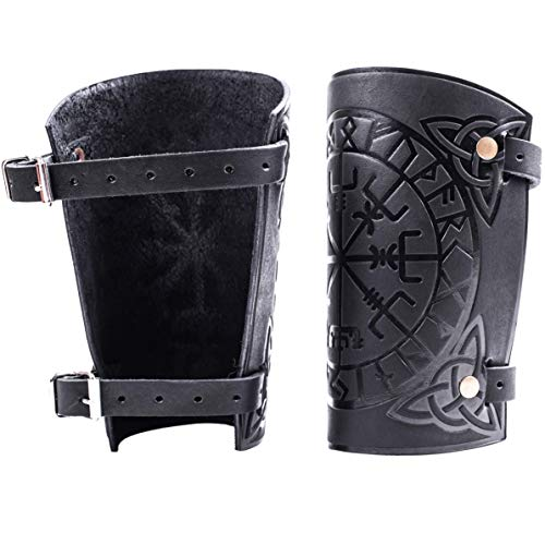 """Hand Made Full Grain Leather Vegvisir Cuff Bracers - Unique Gift LARP Gauntlet - Leather Wristbands - LARP Accessories Viking Bracers - Viking Runic Compass - Length 6"""""""