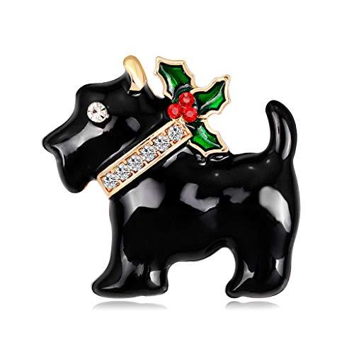 unknows Broches para mujer, Navidad, Año Nuevo, perrito perrito broche de diamantes de imitación moda bufanda ramillete regalos señoras, Aleación, diamantes de imitación.,