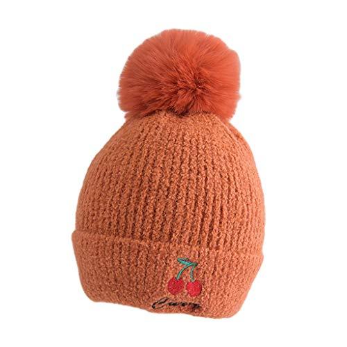 LYTYM Muchachas del niño Niños Lindos Sombreros de Frutas de Invierno de los Cabritos del bebé de Invierno de Punto Sombrero con el Pompom Gorra de Esquiar (Color : Rust Red, Size : 1-3 Years)