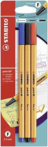 Fineliner - STABILO point 88 - Pack da 3 - Nero/Blu/Rosso