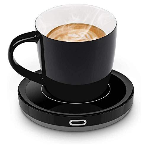 E-YIIVIIL Tassenwärmer Getränkewärmer mit Elektrischer Heizplatte Automatischer Schwerkraft-Sensor-Schalter für Tee Kaffee Milch Kaffeewärmer mit Eurostecker für Büro, Zuhause (Bis zu 131F/55C) (Set)