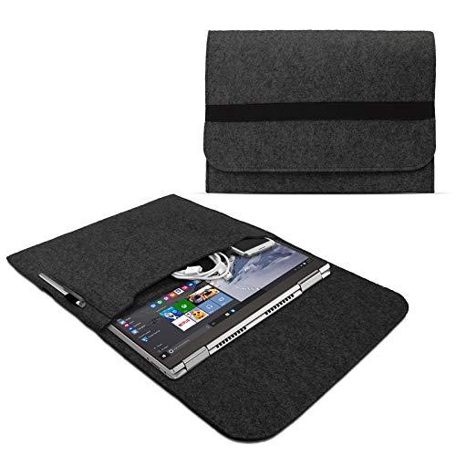 eFabrik Schutzhülle für Lenovo Yoga 730 (13') / Yoga 720 (13,3') / Yoga 710 (14') Filz Tasche Ultrabook Notebook Sleeve Case Soft Cover Schutztasche, Farbe:Dunkelgrau