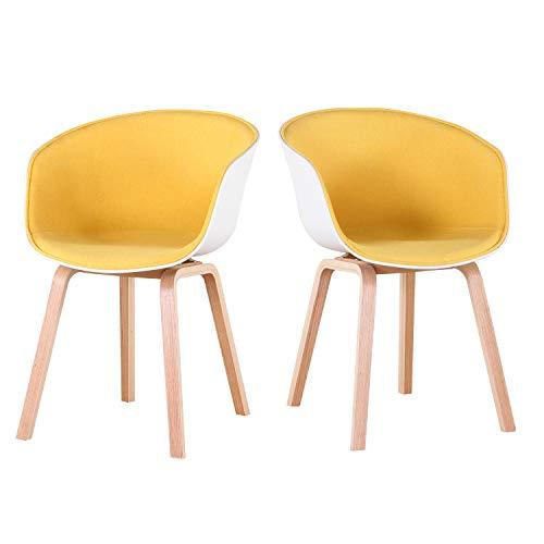 GrandCA Conjunto de 2 sillones Comedor nórdicos con sillones de salón tapizados, sillones de Dormitorio con Patas de Madera Maciza (Amarillo)