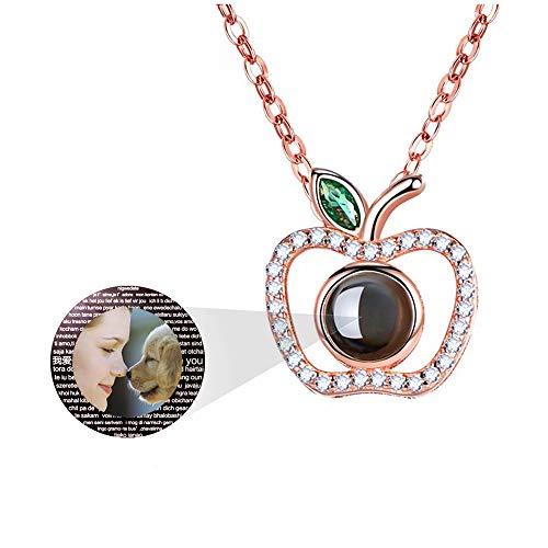hjsadgasd Personalisierte Foto ich Liebe Dich Halskette 925 Silber 100 Sprachen Projektion auf Apple Onyx Anhänger liebevolle Erinnerung Schlüsselbein Halskette