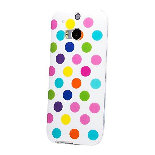 iCues HTC One M8 |  Polka Dots TPU Case Weiss / Bunt | [Display Schutzfolie Inklusive] Damen Frauen Mädchen Silikon Gel Motiv Muster Schutzhülle Hülle Cover Schutz