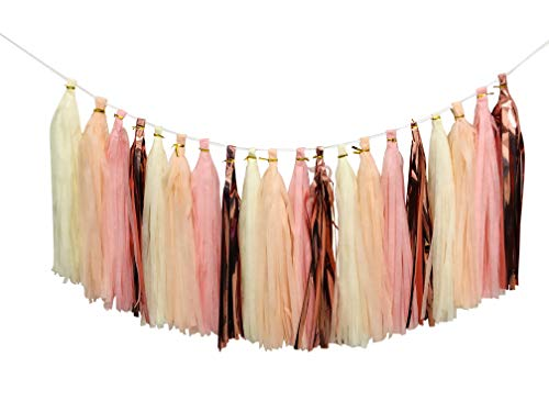 Tissue Paper Tassels Party Garland, 20pcs Rose Gold Foil Pink Blush Yellow Tassel for Baby Girl Showers Birthday Weddings Bridal Shower Decorations