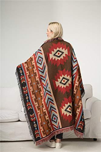 HMYXBMS Boho Sofabezu Deko Decken, Geometrische Strickdecke Sucre Jacquard,Sofabezug Im Amerikanischen Ethno-Stil