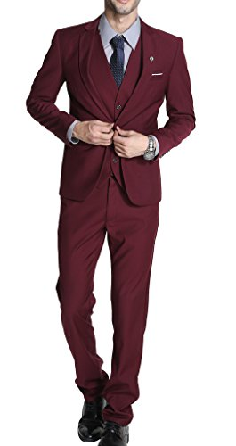 MOGU Mens Slim Fit 3 Piece Suit Blazer Jacket Pants and Vest Set US Size 36 Wine Red